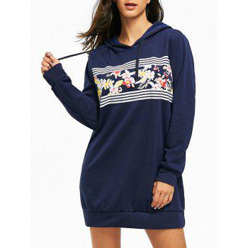Flocking Floral Print Mini Hoodie Dress - DEEP BLUE XL