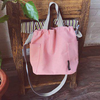 Pockets Drawstring Convertible Canvas Bag -  PINK