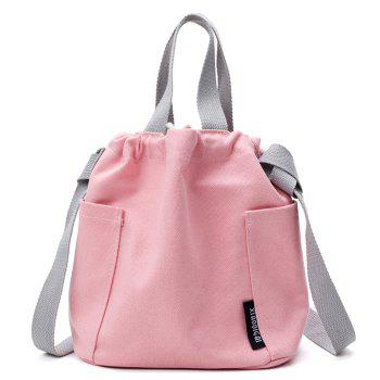Pockets Drawstring Convertible Canvas Bag - PINK PINK