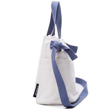 Pockets Drawstring Convertible Canvas Bag -  WHITE