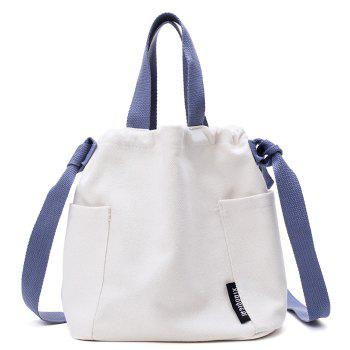 Pockets Drawstring Convertible Canvas Bag - WHITE WHITE
