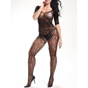 Fishnet Bodystockings with Sleeves - BLACK BLACK