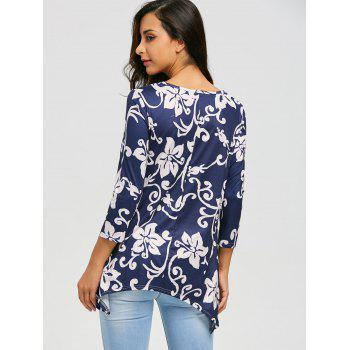 Asymmetric Print Tunic Top - CADETBLUE XL