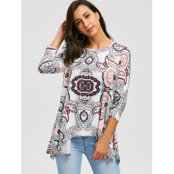 Asymmetric Print Tunic Top - PINK S