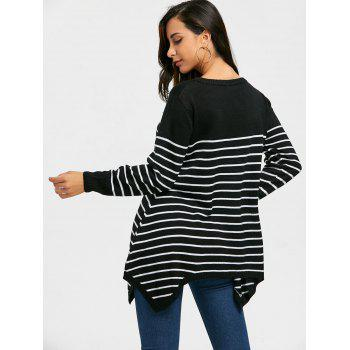 Striped Loose Fitting Asymmetrical Knitwear - BLACK BLACK