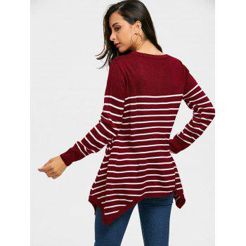 Striped Loose Fitting Asymmetrical Knitwear - WINE RED L