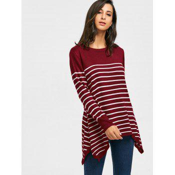 Striped Loose Fitting Asymmetrical Knitwear - WINE RED M