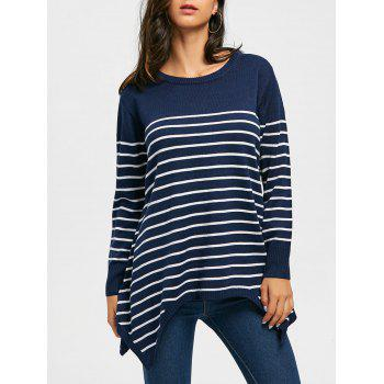 Striped Loose Fitting Asymmetrical Knitwear - BLUE 2XL