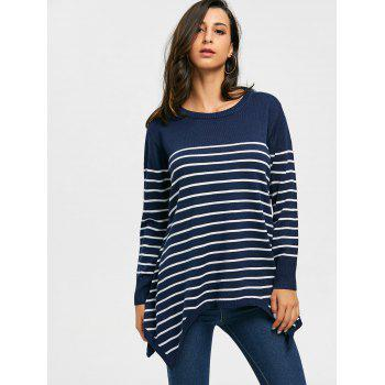 Striped Loose Fitting Asymmetrical Knitwear - 2XL 2XL