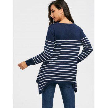 Striped Loose Fitting Asymmetrical Knitwear - BLUE S