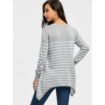 Striped Loose Fitting Asymmetrical Knitwear - GRAY GRAY