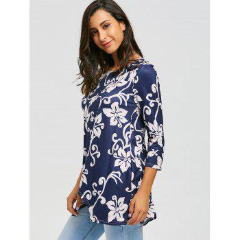 Asymmetric Print Tunic Top - M M