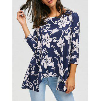 Asymmetric Print Tunic Top - CADETBLUE M