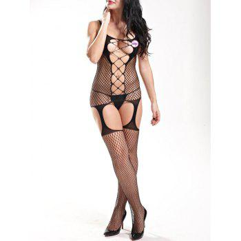 Open Back Fishnet Cut Out Bodystockings - BLACK BLACK