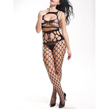 Openwork Cut Out Bodystockings - BLACK ONE SIZE