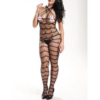 Sleeveless Openwork Bodystockings - BLACK ONE SIZE