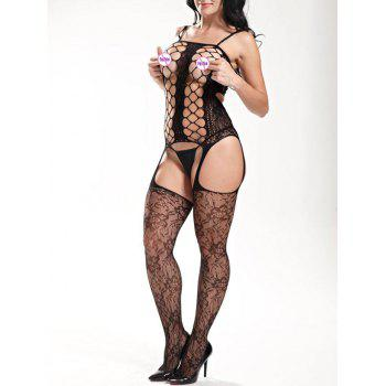 Hollow Out Slip Fishnet Bodystockings
