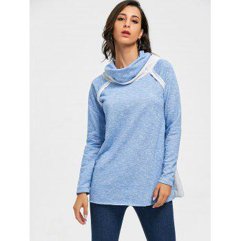 Cowl Neck Loose Fitting Raglan Sweat à manches - Bleu clair M