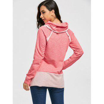 Cowl Neck Loose Fitting Raglan Sweat à manches - ROSE PÂLE L