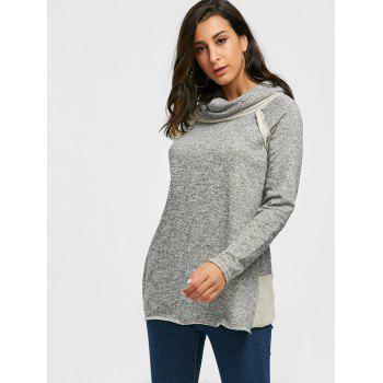 Cowl Neck Loose Fitting Raglan Sweat à manches - Gris L
