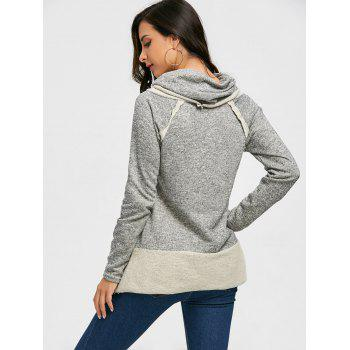 Cowl Neck Loose Fitting Raglan Sweat à manches - Gris S