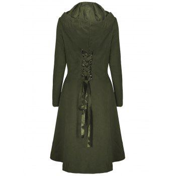 High Low Plus Size Hooded Lace Up Coat - ARMY GREEN 4XL