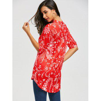 V-neck Bohemian Print Blouse - RED S