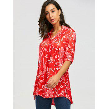 V-neck Bohemian Print Blouse - RED M