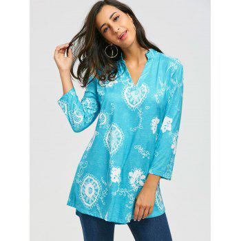 V Neck Bohemian Print Blouse - BLUE XL