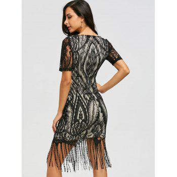 Lace Vintage Maxi Fringe Formal Dress - BLACK BLACK