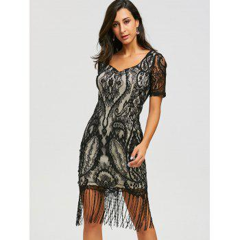 Lace Vintage Maxi Fringe Formal Dress - BLACK XL