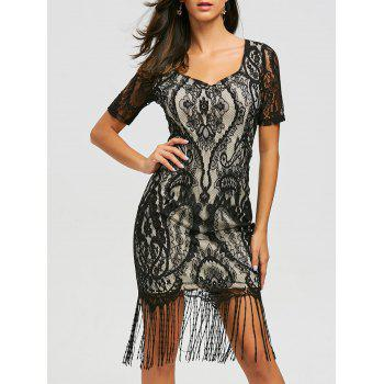 Lace Vintage Maxi Fringe Formal Dress