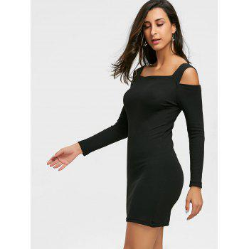 Cold Shoulder Bodycon Mini Sweater Dress - BLACK BLACK