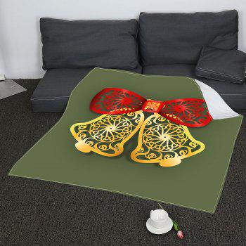 Paper Cutting Christmas Bells Printed Soft Coral Fleece Blanket - COLORMIX W59 INCH * L79 INCH