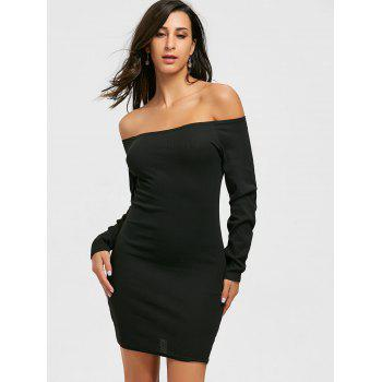 Long Sleeve Off The Shoulder Bodycon Mini Dress - BLACK BLACK