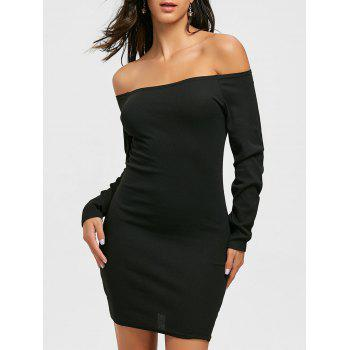 Long Sleeve Off The Shoulder Bodycon Mini Dress - BLACK L