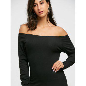 Long Sleeve Off The Shoulder Bodycon Mini Dress - BLACK 2XL