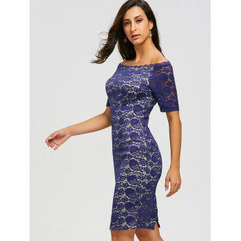 Knee Length Off Shoulder Lace Dress - 2XL 2XL