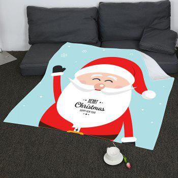 Coral Fleece Father Christmas Pattern Blanket - COLORFUL COLORFUL