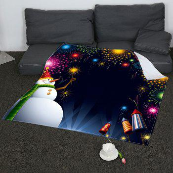 Coral Fleece Christmas Snowman Fireworks Pattern Blanket - COLORFUL W47INCH*L59INCH