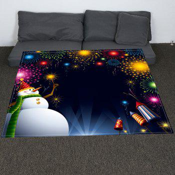 Coral Fleece Christmas Snowman Fireworks Pattern Blanket - COLORFUL COLORFUL