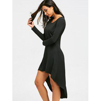 Halloween Cut Out Skull High Low Dress - BLACK M