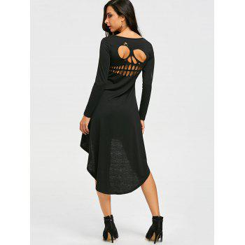 Halloween Cut Out Skull High Low Dress - BLACK BLACK
