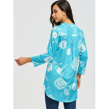 V Neck Bohemian Print Blouse - BLUE 2XL