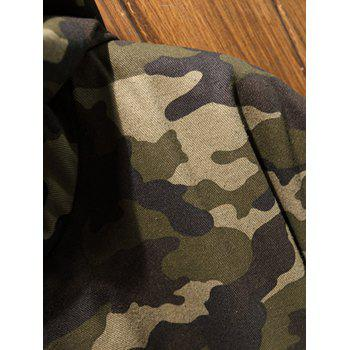 Reversible Style Hooded Pockets Camouflage Coat - BLACK L