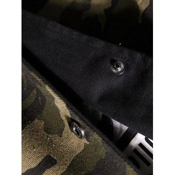 Reversible Style Hooded Pockets Camouflage Coat - BLACK M