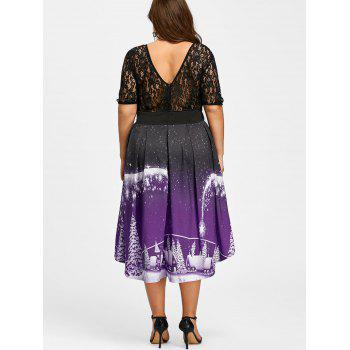 Plus Size Christmas Party Lace Panel Vintage Dress - PURPLE 4XL