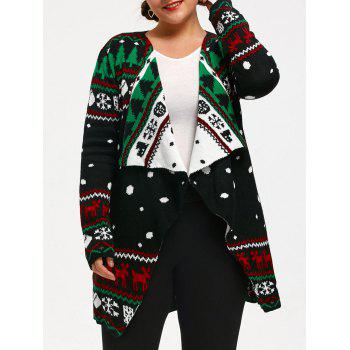 Plus Size Christmas Pattern Knitted Tunic Cardigan