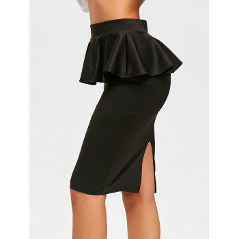 High Waist Peplum Pencil Skirt - BLACK XL