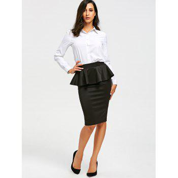 High Waist Peplum Pencil Skirt - BLACK BLACK